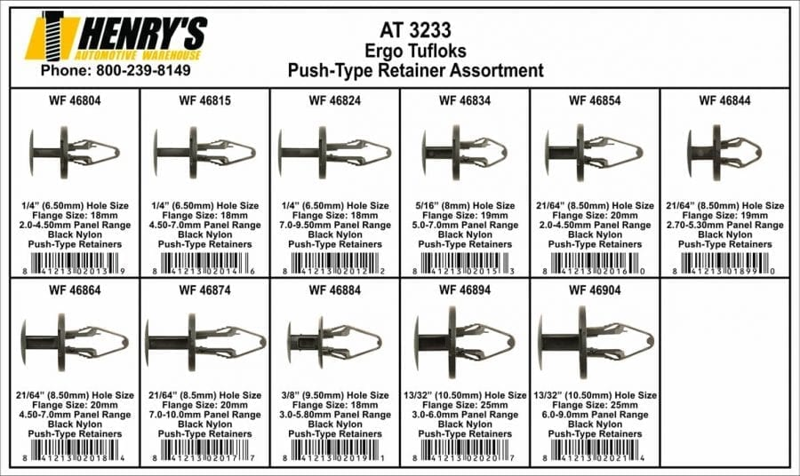 Assortment Tray Tuflok Retainers at3233