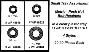 Assortment Tray Push Nut Bolt Retainers - Metric