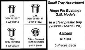 Assortment Tray Hinge Pin Bushings GM