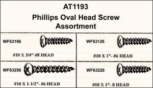 Assortment Tray Pillips Nickel Oval Head Screws-Long