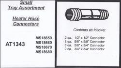 Assortment Tray Heater Hose Connectors
