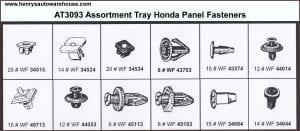 Assortment Tray Honda Panel Fasteners