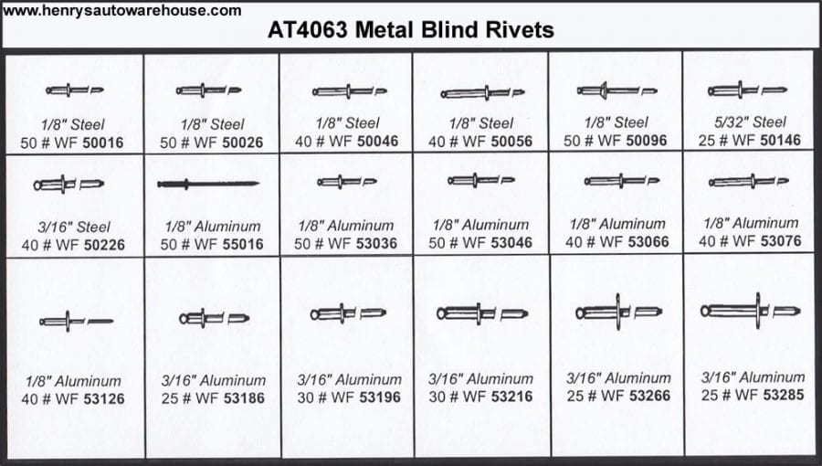Assortment Tray Metal Blind Rivets