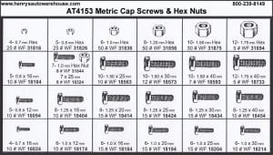 Assortment Tray Metric Cap Screws and Hex Nuts