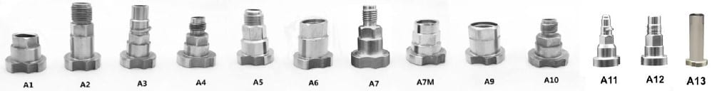 paint gun cup adapters list